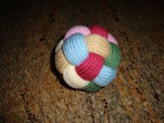 Hand Knit Braided BABY BALL TOY - Acrylic Yarn - no bell inside