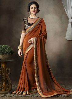 Shop Online for Shades of Copper Color Satin Georgette Function & Party Sarees : Mahir Collection  YF-31563 - YellowFashion.in - 1