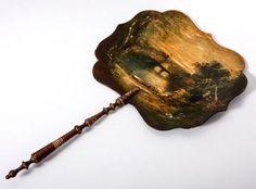 Antique Victorian Hand Painted Oil Painting Papier Mache Face Screen Fan