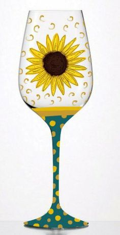 """Sunflower Scape Hand-painted Glass by Evergreen Enterprises, Inc. $14.99. Holds 12 oz.. Hand-painted glass. Hand wash only. A unique gift idea. 3.75""""W x 9""""H. These sunflowers burst open so brightly it's as if they are trying to compete with the mid-day sun in the deep blue summer sky. Designed for sipping drinks on front porches or back decks with the flowers of the season blooming around you and the warm-weather winds surrounding, these wine glasses are charming. Th..."""