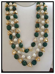 Gold Jewelry for any purpose India Jewelry, Bead Jewellery, Beaded Jewelry, Beaded Necklace, Jewellery 2017, Pearl Necklaces, Strand Necklace, Emerald Jewelry, Diamond Jewelry
