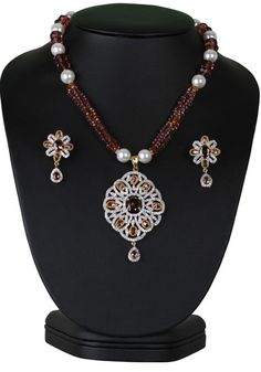 Charming fashion beaded necklace with simulated light purple cz pendant-CJBEAD48  http://www.craftandjewel.com/servlet/the-1918/Charming-fashion-necklace/Detail