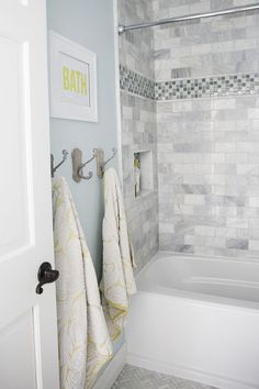 Bathroom makeover + free printable - I Heart Nap Time The Most Useful Bathroom Shower Ideas There ar Hall Bathroom, Upstairs Bathrooms, Bathroom Renos, Grey Bathrooms, Bathroom Renovations, Bathroom Ideas, Bathroom Gray, Mosaic Bathroom, Bathroom Colors