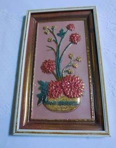 "Framed Raised Floral Rectangular Metallic Print/ 14 1/2"" X 9"" by RadiogirlCarolyn on Etsy"
