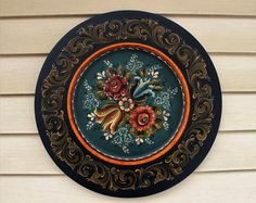 Norwegian Rosemaling in Rogaland Style on 14 Square