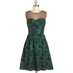 Say 'oui' to this fetching fit-and-flare dress and style an ensemble around its many phenomenal facets! Made from black-lace-embellished emerald fabric with a …