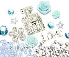 DIY Cell Phone Case Deco kit bling bling Decoden Cabochon Kit  KAwaii Resin metal Flatback / Blue Silver Perfume Bottle cabochon deco BSA