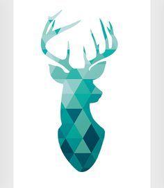 Deer print Antler print Deer poster Wall art by ShopTempsModernes Modern Prints, Modern Wall Art, Art Prints, Triangles, Deer Wallpaper, Geometric Deer, Triangle Art, Antler Art, Deer Silhouette