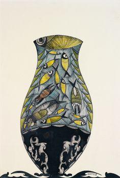 Scottie Wilson (British, 1888-1972), Vase with fish. Watercolour and gouache on paper, 40 x 27 cm.