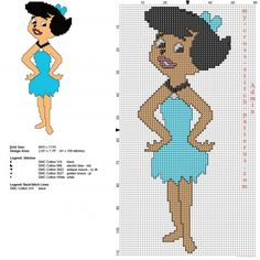 Betty Rubble The Flintstones character free cross stitch pattern with backstitch use - free cross stitch patterns simple unique alphabets baby Cross Stitch Boards, Just Cross Stitch, Beaded Cross Stitch, Cross Stitch Embroidery, Disney Cross Stitch Patterns, Cross Stitch Designs, Stitch Disney, Stitch Cartoon, Plastic Canvas Patterns