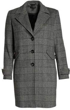 b587f0e3a3f Halogen(R) Plaid Mix Wool Blend Coat (Plus Size) Plus Size Coats