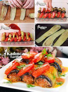 Fleischbällchen Aubergine Sarması Rezept, How To - yemek tarifleri - Easy Meatloaf, Meatloaf Recipes, Meatball Recipes, Iftar, Turkish Recipes, Ethnic Recipes, Eggplant Rolls, Classic Meatloaf Recipe, Gourmet