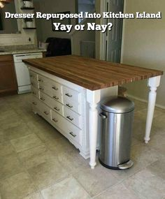 Great Kitchen Island Ideas – Photos and Galleries Tags: small kitchen ideas on a budget, narrow kitchen ideas, kitchen cabinet design, kitchen tiles design,… Dresser Kitchen Island, Farmhouse Kitchen Island, Kitchen Island With Seating, Kitchen Islands, Rustic Farmhouse, Island Table, Kitchen Cabinets, Dark Cabinets, Cupboards