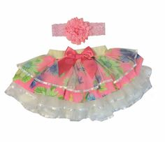 Gorgeous Two Peaces Tutu With Cascades of Tulle  and Chiffon Ruffles  and Satin Ribbon Bow andHead Band. by Lollipopface on Etsy