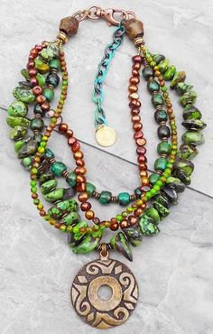 XO Gallery Jewelry - Tahoe: Gorgeous Green Turquoise, Copper and Bronze. Green Turquoise, Turquoise Jewelry, I Love Jewelry, Jewelry Design, Statement Jewelry, Jewelry Making, Luxury Jewelry, Custom Jewelry, Personalized Jewelry