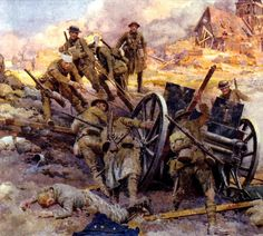 Britsh infantry with captured 77mm Krupp cannon, the Somme 1916