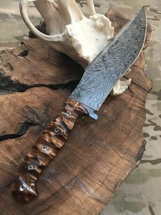 Bowie blade, damascus steel, Hawaiian curly Koa wood chaos low profile grip, mosaic pins, closed tang