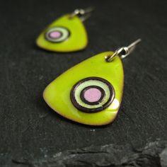 Enamel earrings copper enamel green and pink by CinnamonJewellery