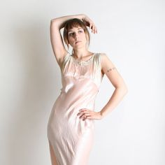 Vintage 1930s Silk Dress  Soft Cotton Candy Pink Maxi by zwzzy, $200.00