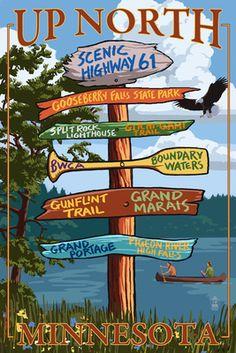 Gooseberry Falls, Minnesota - Destination Signpost - Lantern Press Poster