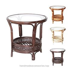 Pelangi Handmade Rattan Round Wicker Coffee Table with Glass Dark Brown  Check It Out Now     $104.99    ~Natural Rattan (Wicker) ~Handmade & Design ~Fully Assembled ~Strong & Light Glass is Included        Check It Out ..  http://www.handmadeaccessories.top/2017/03/20/pelangi-handmade-rattan-round-wicker-coffee-table-with-glass-dark-brown-2/