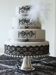 Gothic Skull Feather Lace Wedding Cake www.facebook.com/hollythecakelady