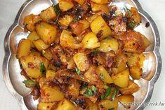 Indiai sültkrumpli: 500 g burgonya, kockázva 1 közepes vöröshagyma, szeletelve 1 teáskanál egész mustármag 1 teáskanál őrölt kurkuma 2 teáskanál őrölt chili 2 evőkanálnyi kókuszolaj só