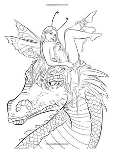Fairy Companions Coloring Book - Fairy Romance, Dragons and Fairy Pets (Fantasy Art Coloring by Selina) Selina Fenech Davlin Publishing Dragon Coloring Page, Fairy Coloring Pages, Adult Coloring Book Pages, Colouring Pics, Coloring Pages To Print, Free Coloring Pages, Printable Coloring Pages, Coloring Books, Colorful Drawings