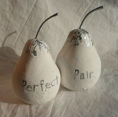 PERFECT PAIR Cake Toppers - a set of two white and silver pears.