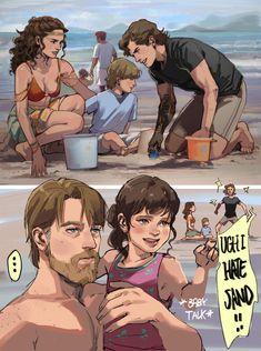 """Padme, Anakin and Obi wan with kids on the beach ! Star Wars Meme, Star Wars Art, Star Trek, Anakin Vs Obi Wan, Anakin And Padme, Beach Kids, Beach Day, Star Wars Brasil, Fan Art"