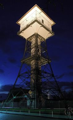groitzch, germany, night, evening, water tower