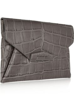 GIVENCHY Antigona envelope clutch in gray crocodile-style leather $1,335