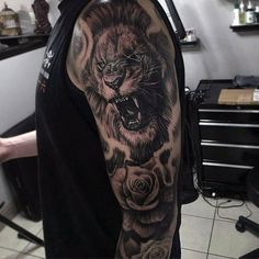 Incredible Lion With Rose Full Sleeve Mens Tattoo Ideas