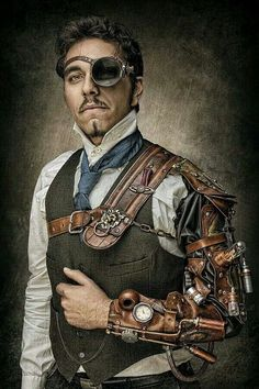 Steampunk - male, mechanical arm with shoulder straps