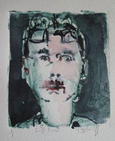 Original Self Portrait Watercolor Monoprint on Arches by Paintbox, $50.00