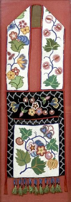 bandolier bags for auction | bandolier bag. With floral beadwork wrapping around front panel of bag ...