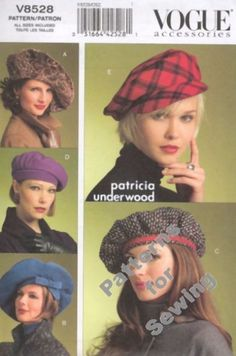 Pattern Vogue Sewing  Woman Vogue 5 Hats 3 sizes Hats NEW #Vogue