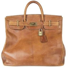 Hermes Brown Leather Vintage Haut A Courroies 45 Hac Birkin Bag Saddle Leather, Brown Leather, Pop Bag, Louis Vuitton Trunk, Dior Logo, Bowling Bags, Canvas Leather, Bag Sale, Fashion Handbags