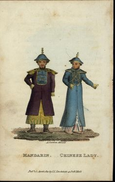 Mandarin Man Chinese Lady  c. 1812 aquatint China print. Note unbound feet on Manchu lady.