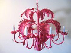 Vintage HOLLYWOOD REGENCY Hot Pink PALM Tree Tole Chandelier