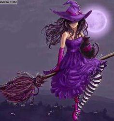 Magick Wicca Witch Witchcraft: Witch in purple. Purple Love, All Things Purple, Shades Of Purple, Purple Stuff, Purple Art, Purple Dress, Holidays Halloween, Happy Halloween, Halloween Witches