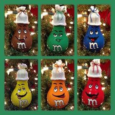 2016 M & M Light Bulb Ornaments by Grassburrknob on Etsy Homemade Christmas, Diy Christmas Gifts, Christmas Art, Christmas Projects, Disney Christmas Decorations, Christmas Ornament Crafts, Holiday Crafts, Light Bulb Crafts, Painted Ornaments