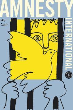"""Roman Cieslewicz - Affiche """"Amnesty international"""" - Italie."""
