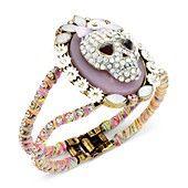 Betsey Johnson Bronze-Tone Crystal Skull Hinge Bangle Bracelet