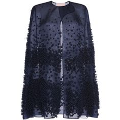 ROKSANDA Embroidered Organza Cape ($5,515) ❤ liked on Polyvore featuring outerwear, cape coat, roksanda, navy cape and navy cape coat