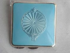 ANTIQUE STERLING SILVER & GUILLOCHE ENAMEL POWDER COMPACT BIRMINGHAM 1914 | eBay