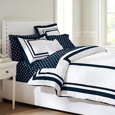Suite Organic Duvet Cover + Sham, Royal Navy #pbteen $129 Queen Size. ...to cover my old white comforter...