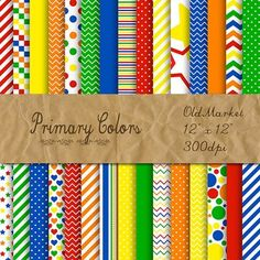 """Digital Paper Pack - Primary Colors Collection PapersProduct Description:Number of Papers - 30Size - 12"""" x 12""""File Type - Jpeg (In Zip Folder)These Digital Papers are great for classroom activities, scrapbooking, party printables, classroom printables, cards, crafts and so much more!Terms of Use (TOU):All Digital Papers may be used for Personal and Commercial Use."""