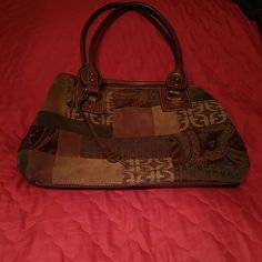 Fossil Multi colored Tapestry purse Tapestry and leather bag,  Browns and deep red Fossil Bags Satchels