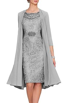 APXPF Women's Tea Length Mother Of The Bride Dresses Two Pieces With Jacket Silver US14